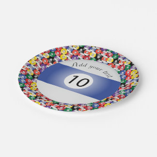 Billiard Pool Balls Stripe Number Ten Paper Plate