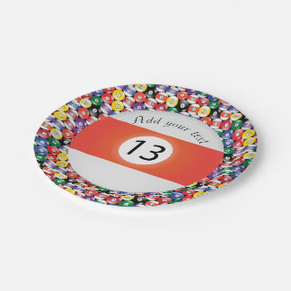 Billiard Pool Balls Stripe Number Thirteen Paper Plate