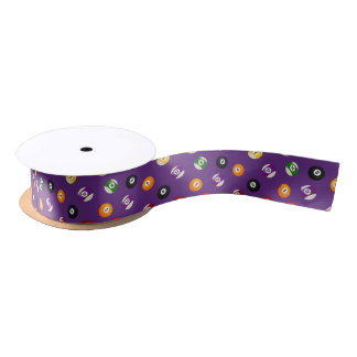 Billiard sports pattern tiled party gift ribbon satin ribbon