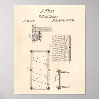 Billiard table cushion 1856 Patent Art - Old Peper Poster