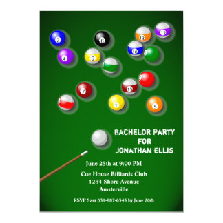 Billiards Bachelor Party Card