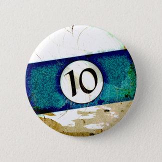 BILLIARDS BALL NUMBER 10 2 INCH ROUND BUTTON