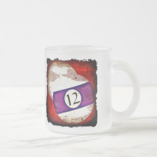 BILLIARDS BALL NUMBER 12 FROSTED GLASS COFFEE MUG