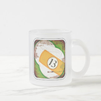 BILLIARDS BALL NUMBER 13 FROSTED GLASS COFFEE MUG