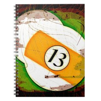 BILLIARDS BALL NUMBER 13 SPIRAL NOTEBOOK