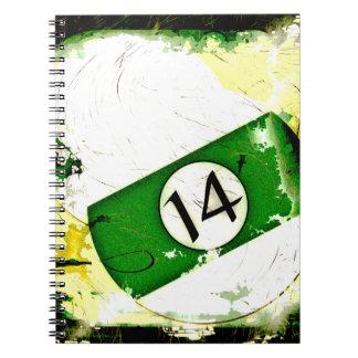BILLIARDS BALL NUMBER 14 SPIRAL NOTEBOOKS