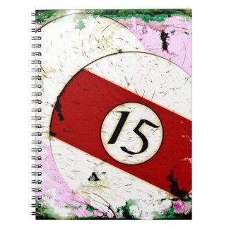BILLIARDS BALL NUMBER 15 SPIRAL NOTEBOOKS