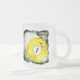 BILLIARDS BALL NUMBER 1 FROSTED GLASS COFFEE MUG