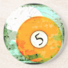 BILLIARDS BALL NUMBER 5 COASTER