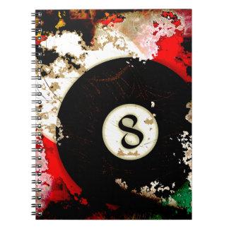 BILLIARDS BALL NUMBER 8 SPIRAL NOTE BOOKS
