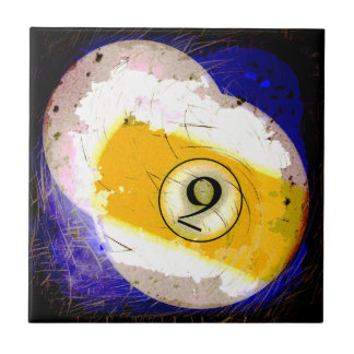 BILLIARDS BALL NUMBER 9 CERAMIC TILE