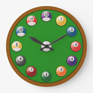 Billiards Clock - Solids and Stripes