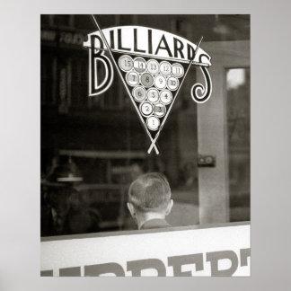 Billiards Hall, 1938. Vintage Photo Poster