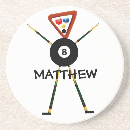 Billiards Player Cartoon Coaster