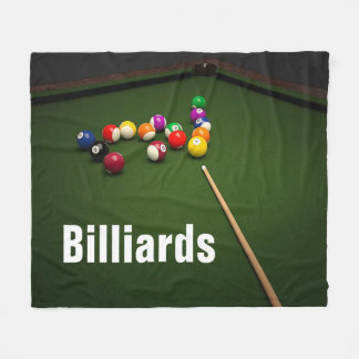 Billiards Pool Balls and Pool Table Fleece Blanket