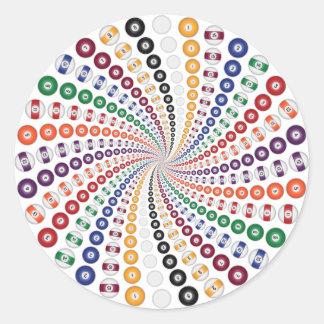 Billiards / Pool Balls Spiral: Classic Round Sticker