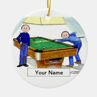 Billiards, Pool Players - Male & Male Ceramic Ornament