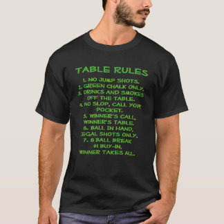 Billiards Pool Room Rules with Logo Back T-Shirt