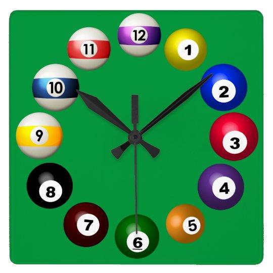 Billiards Room Fun Square Wall Clock