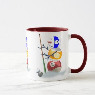 Billiards Snowman Christmas Mug