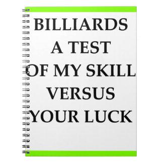 BILLIARDS SPIRAL NOTEBOOKS