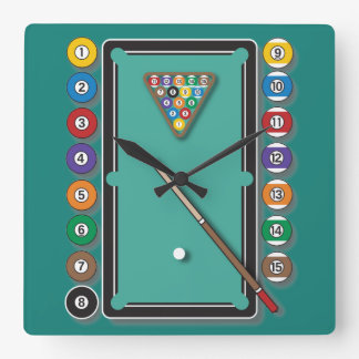 Billiards Square Wall Clock