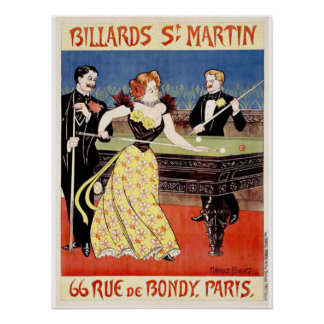 Billiards St. Martins, Paris Poster