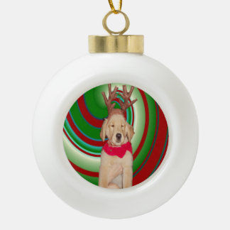 Billie, The Golden Reindeer Ceramic Ball Christmas Ornament