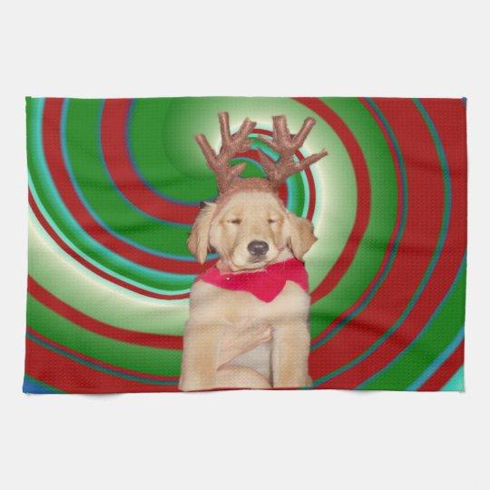 billie-the-golden-reindeer kitchen towel