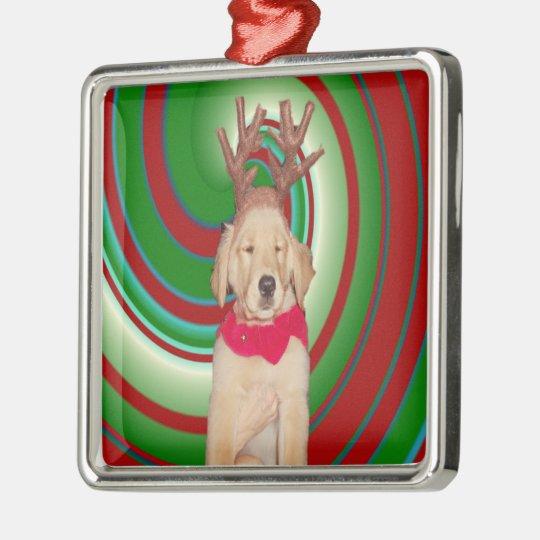 billie-the-golden-reindeer metal ornament