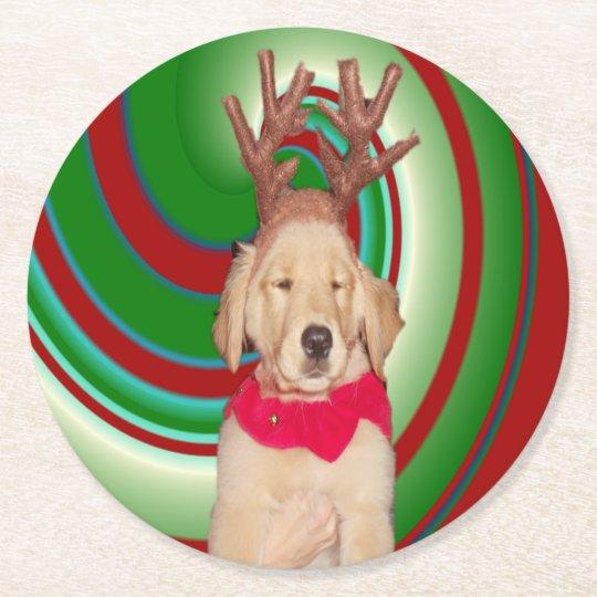 billie-the-golden-reindeer round paper coaster