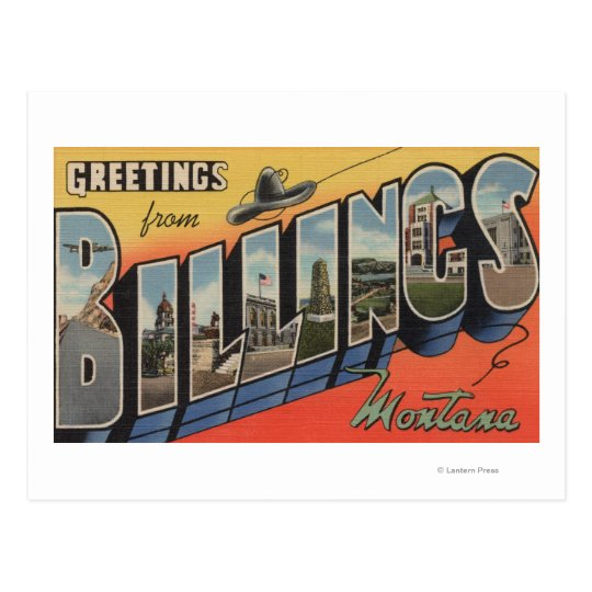 Billings, Montana - Large Letter Scenes 2 Postcard