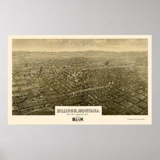 Billings, MT Panoramic Map - 1904 Poster
