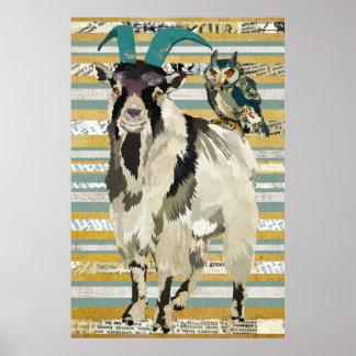 Billy Goat & Owl Art Poster