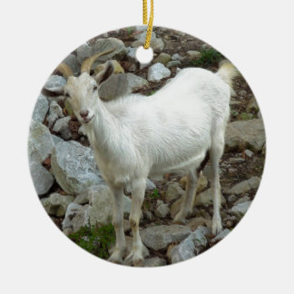 Billy Goat Round Ceramic Ornament