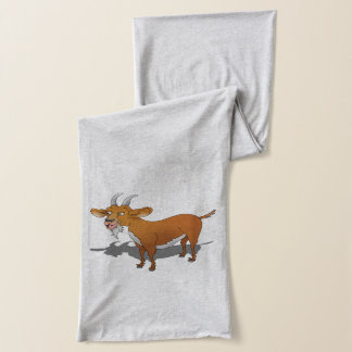 Billy goat with cheerful smile scarf