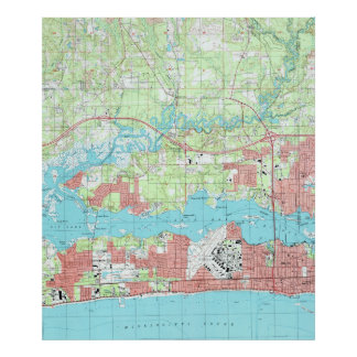 Biloxi Mississippi Map (1992) Poster
