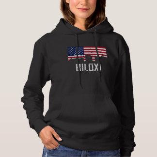 Biloxi Mississippi Skyline American Flag Distresse Hoodie