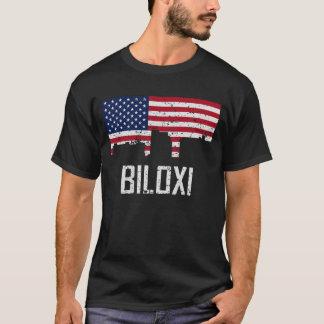 Biloxi Mississippi Skyline American Flag Distresse T-Shirt