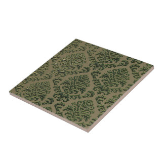 BILTMORE DAMASK in STAMPED METAL IN OLIVE Tile