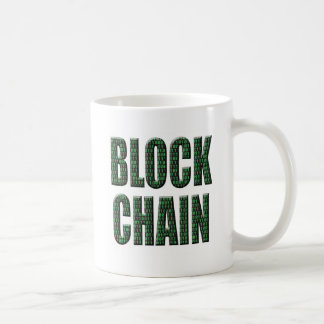 Binary block chain, a distributed database, envisa coffee mug