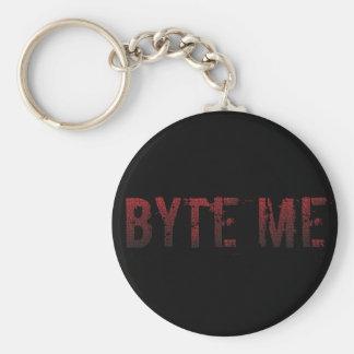 Binary Byte Me Basic Round Button Keychain