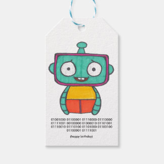 Binary Code Happy Birthday Tag - Robot Pack Of Gift Tags