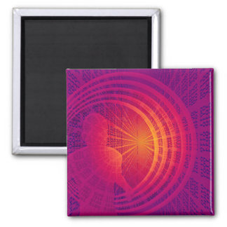 Binary Code Hi-Tech  Abstract Design Square Magnet