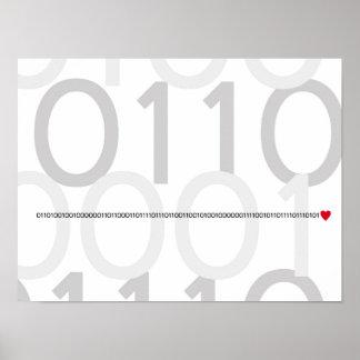 Binary code I love you poster Geek heart