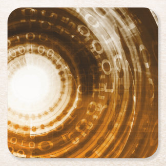 Binary Data Abstract Background for Digital Square Paper Coaster