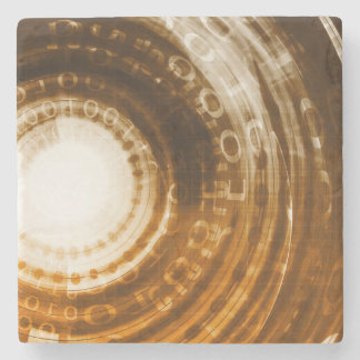 Binary Data Abstract Background for Digital Stone Coaster