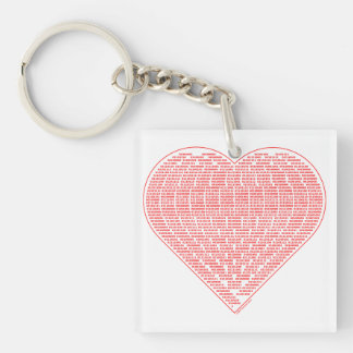 Binary Heart Single-Sided Square Acrylic Keychain