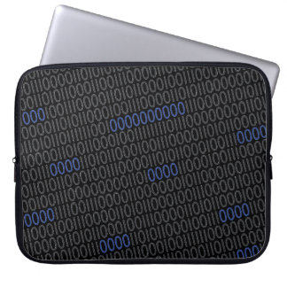 Binary numbers grey blue laptop sleeve