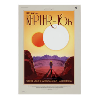Binary Star System Astronaut on Exoplanet Kepler 1 Poster